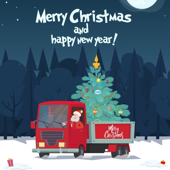 santa-claus-is-a-truck-driver-with-a-christmas-tree-vector-id1067468450